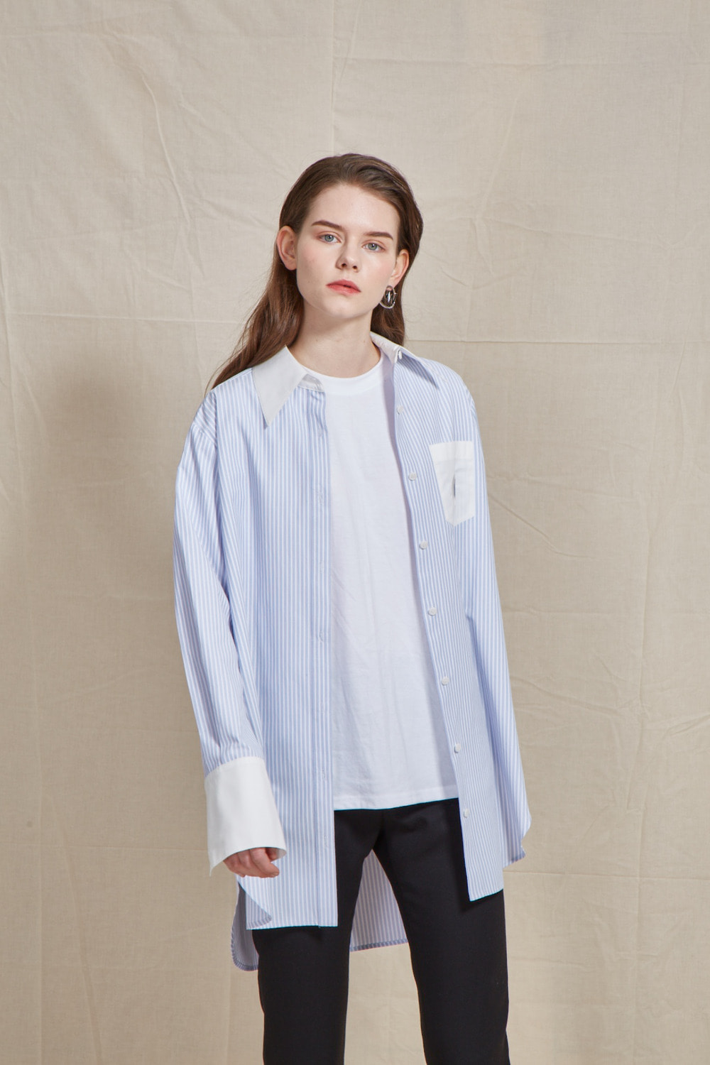 hole-pocket stripe shirt