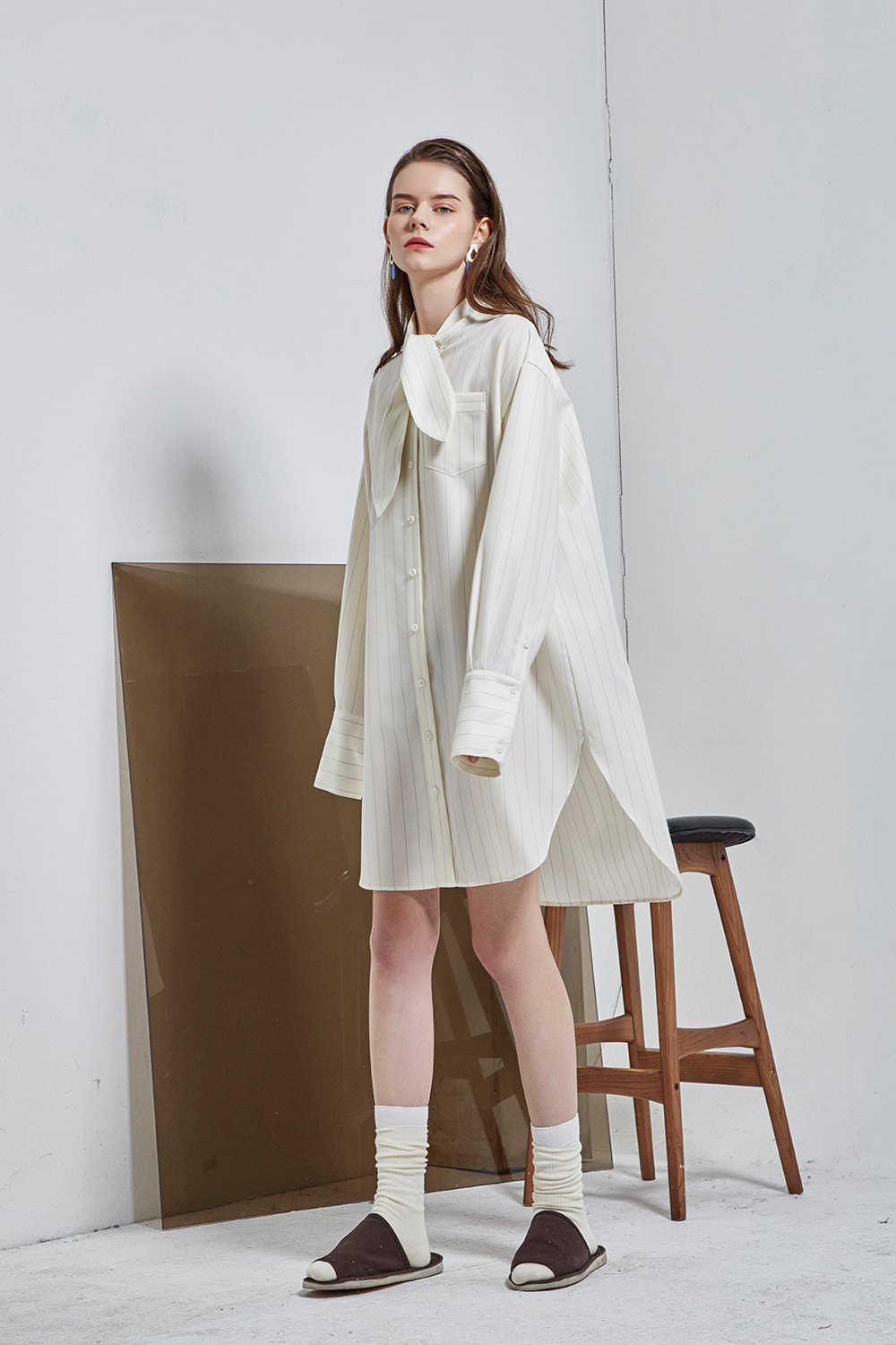 [5차 재입고] tie-neck shirt dress