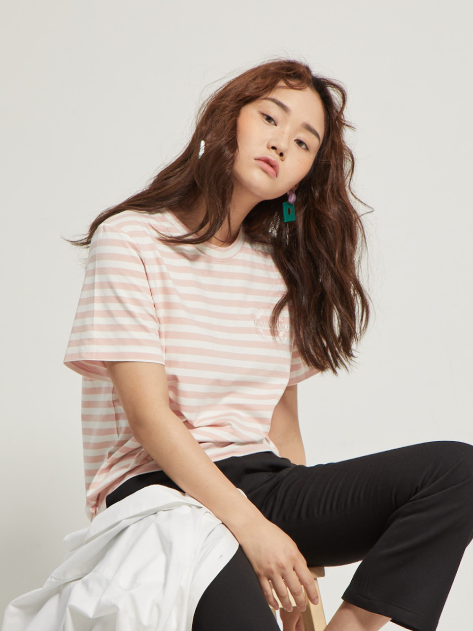 embroidery stripe T-shirts PINK