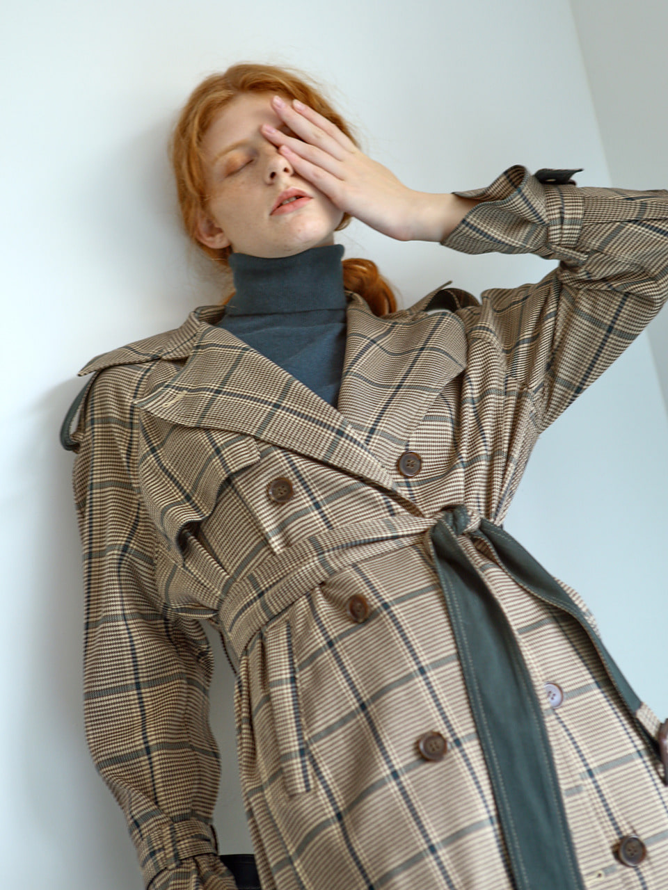 back box-pleats trenchcoat GREEN CHECK