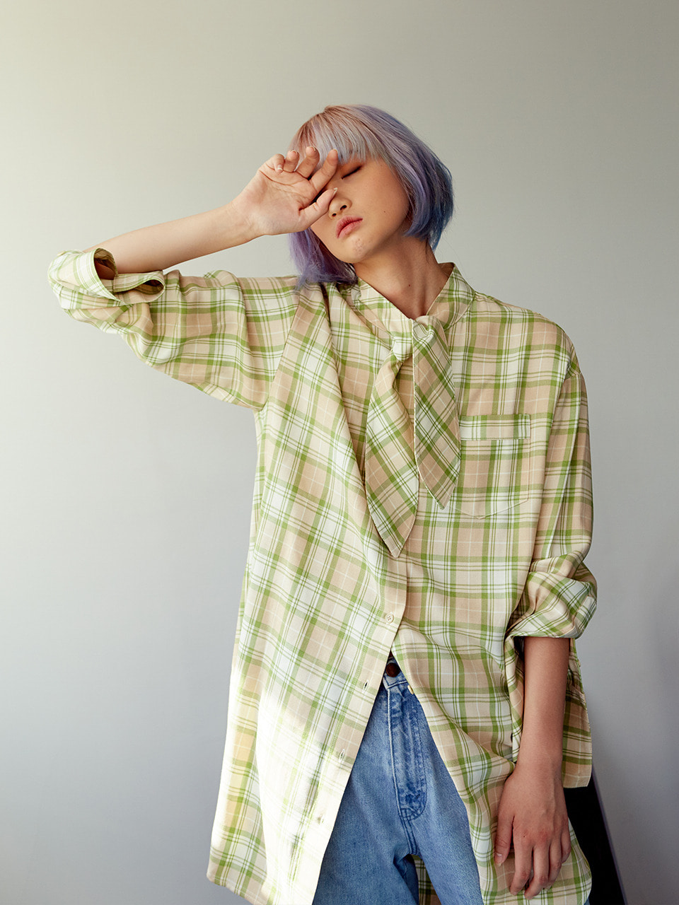 tie-neck shirt dress GREEN CHECK