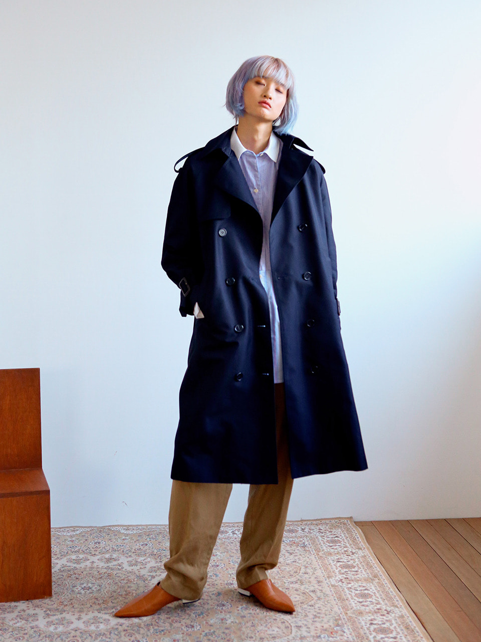 back box-pleats trenchcoat NAVY