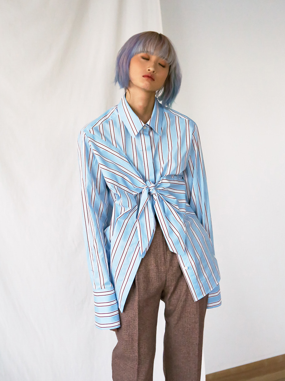 bias-cut tied shirts BLUE STRIPE