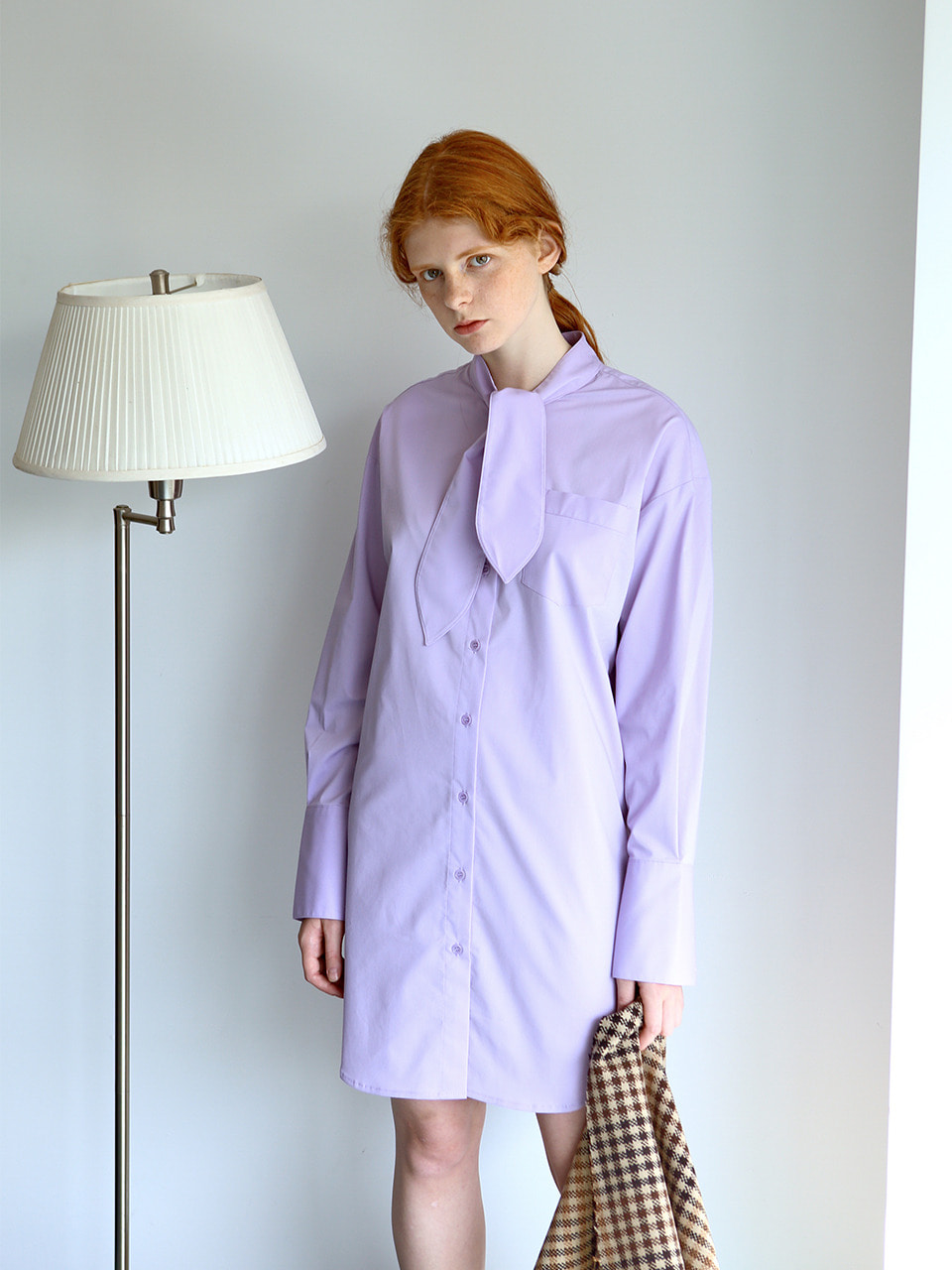 [2차 재입고] tie-neck shirt dress VIOLET