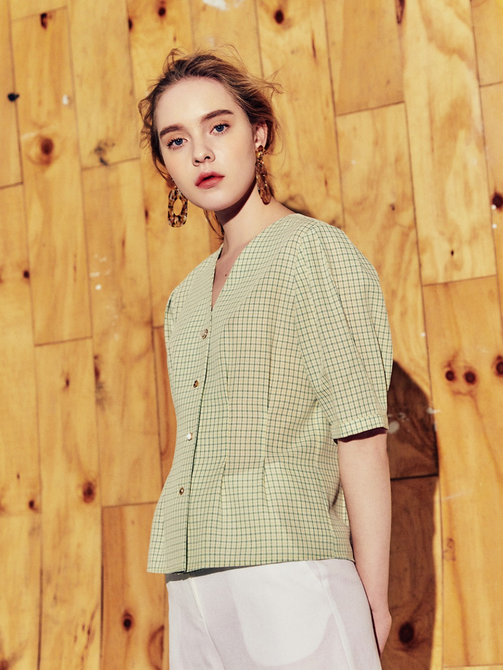 decorative button half sleeve blouse GREEN CHECK